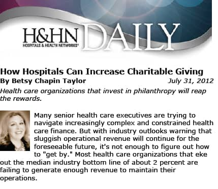 HOW HOSPITALS CAN INCREASE CHARITABLE GIVING