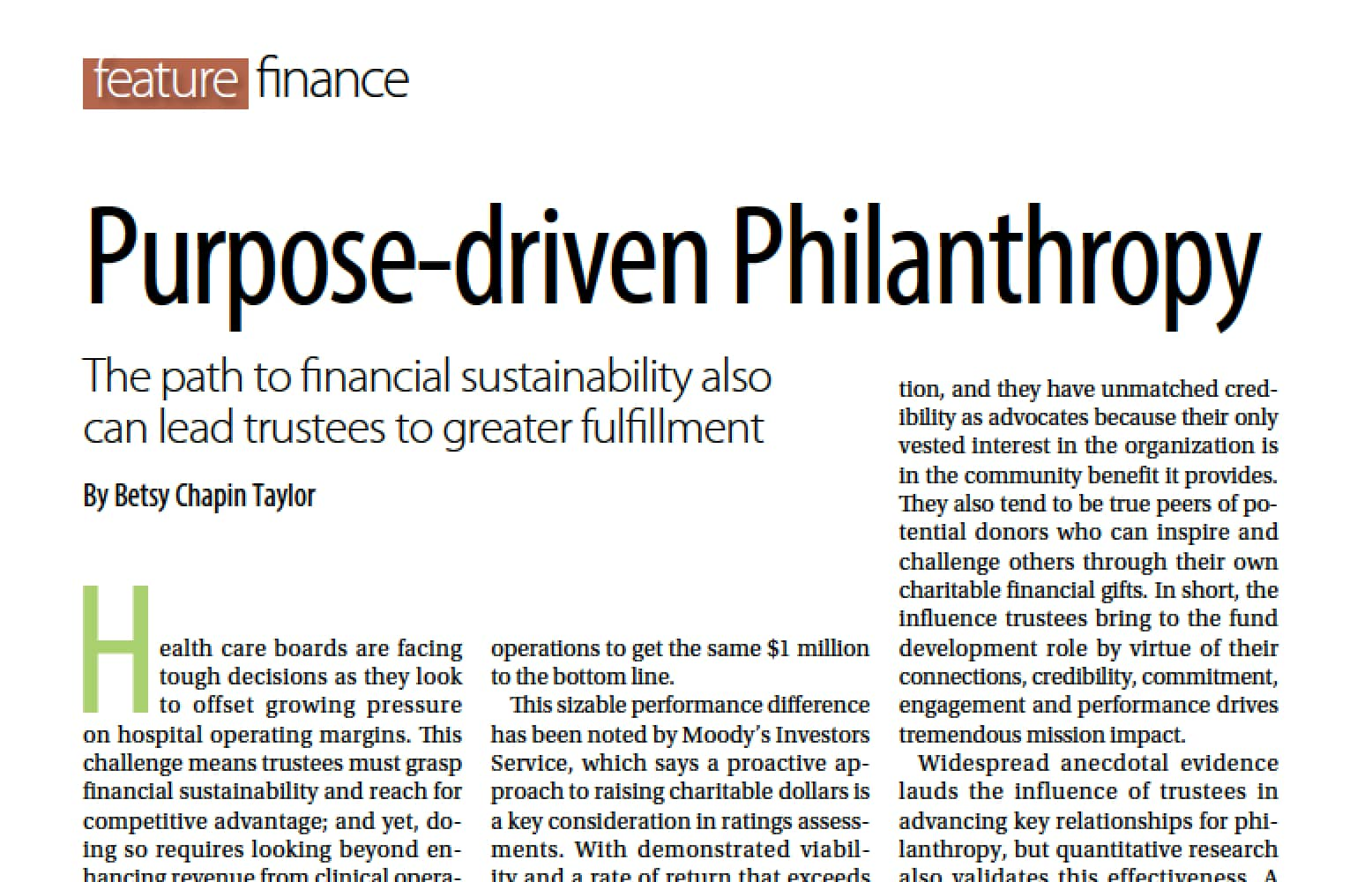PURPOSE-DRIVEN PHILANTHROPY