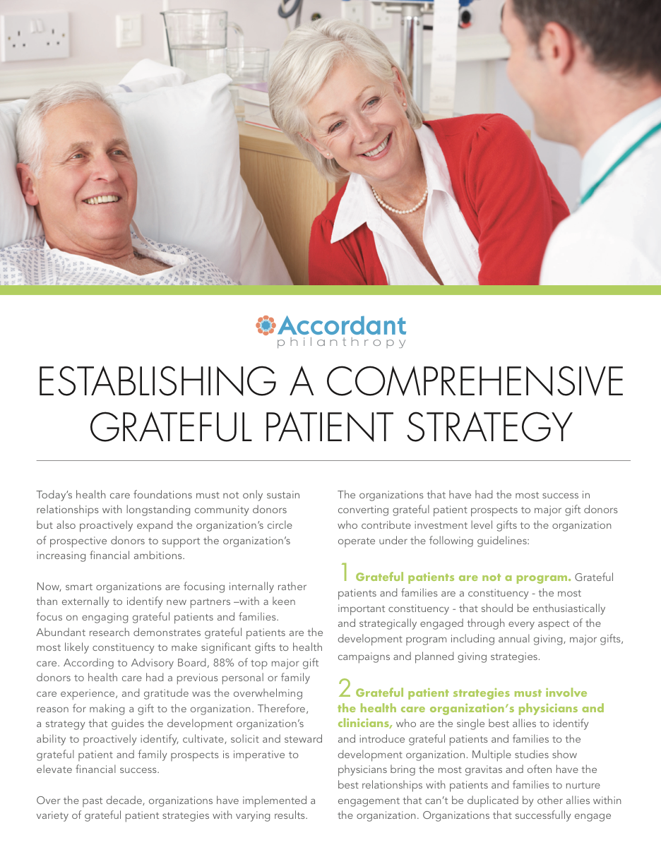 Establishing A Comprehensive Grateful Patient Strategy
