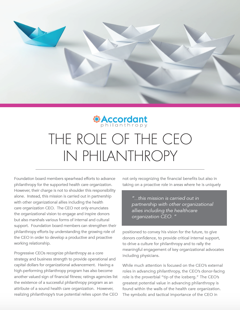 The Role of the CEO in Philanthropy